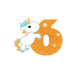 Birthday anniversary number with cute unicorn. Gold glittering number six. Birthday anniversary number with cute unicorn. Birthday template with unicorn for Royalty Free Stock Image