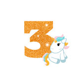 Birthday anniversary number with cute unicorn. Gold glittering number three. Birthday anniversary number with cute unicorn. Birthday template with unicorn for Royalty Free Stock Photos
