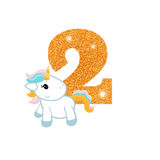 Birthday anniversary number with cute unicorn. Gold glittering number two. Birthday anniversary number with cute unicorn. Birthday template with unicorn for Royalty Free Stock Images