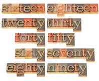 Birthday or anniversary numbers. From sixteen to ninety - isolated words in vintage wood letterpress printing blocks Stock Images