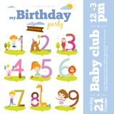 Birthday anniversary numbers with animals and kids royalty free illustration