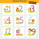 Birthday anniversary numbers with cute animals and Stock Images