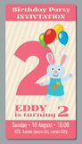 Birthday anniversary party invitation card with cute rabbit vector template 2 years old Royalty Free Stock Photography