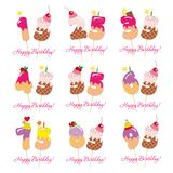 Birthday anniversary set. Festive sweet numbers from 15 to 95. Coctail straws. Funny decorative characters. Vector. Illustration Stock Image