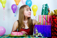 Birthday. attractive young girl Stock Photo