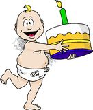 Birthday Baby. Cartoon image of a baby running with a birthday cake Royalty Free Stock Images