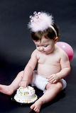Birthday Baby with cake Stock Images