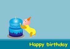 Birthday Baby. Cute baby and birthday cake vector illustration