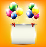 Birthday background with balloon and place for text Stock Photo