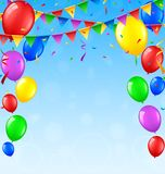 Birthday background with balloons and confetti. Illustration of Birthday background with balloons and confetti Stock Photo
