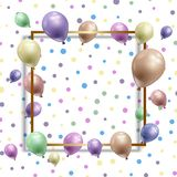 Birthday background with balloons. With a frame on a spotted design royalty free illustration