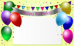 Birthday background. With balloons, garland and confetti Royalty Free Stock Photos