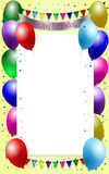 Birthday background. With balloons, garland and confetti Stock Photography