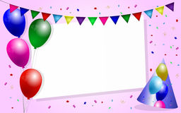 Birthday background. With balloons, garland and confetti and birthday cap Royalty Free Stock Image