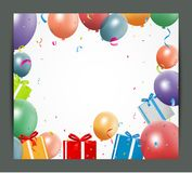 Birthday background with balloons and gift box. Illustration of Birthday background with balloons and gift box Royalty Free Stock Image