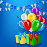 Birthday background with balloons, gift and confetti Stock Photo
