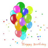 Birthday background with balloons. Holiday vector background with colorful balloons. Birthday stock illustration