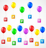 Birthday background with balloons. Illustration of Birthday background with balloons Royalty Free Stock Images