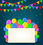 Birthday background with balloons. Illustration of Birthday background with balloons Royalty Free Stock Photography