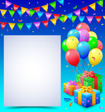 Birthday background with balloons. Illustration of Birthday background with balloons Stock Photography