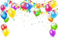 Birthday background with balloons and pennants on white. Happy Birthday background with set of colorful balloons, multicolored pennants and confetti on white Royalty Free Stock Photography