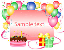 Birthday background. With balloons and place for text Stock Photos