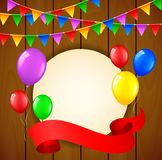 Birthday background with balloons and place for text on wooden background. Illustration of Birthday background with balloons and place for text on wooden Royalty Free Stock Photos