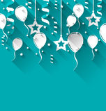 Birthday background with balloons, stars and confetti, trendy fl Stock Photo