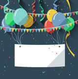 Birthday background with blank sign/flat design style Stock Images
