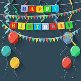 Birthday background with blank sign/flat design style Royalty Free Stock Images
