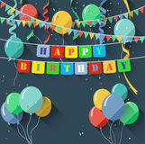 Birthday background with blank sign/flat design style Stock Photo