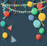 Birthday background with blank sign/flat design style Stock Image