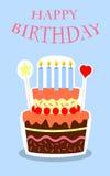 Birthday background. Blue birthday background of birthday cake with candles Stock Image