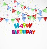 Birthday background with bunting and confetti Stock Image