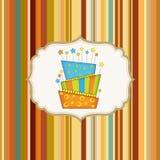 Birthday background with cake. Birthday striped background with cake Stock Photography