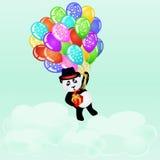 Birthday background with cartoon panda flying with balloons. Cartoon panda flying with birthday balloons and gift above the clouds. Birthday background. EPS 10 Stock Photo