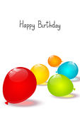 Birthday background with color balloons. On white Stock Photos