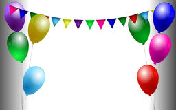 Birthday background. With colorful balloons and garland Stock Images