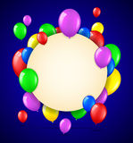 Birthday background with colorful balloons and place for text Royalty Free Stock Photography
