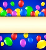 Birthday background with colorful balloons and place for text. Illustration of Birthday background with colorful balloons and place for text Royalty Free Illustration