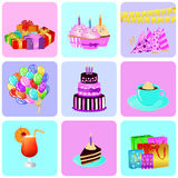 Birthday background. With colorful party elements. eps 10 vector illustration Stock Photo