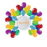 Birthday background with flying balloons border frame and copyspace. Vector illustration. Birthday background with flying balloons border frame and copyspace vector illustration