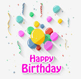 Birthday background with flying balloons/flat design Stock Images