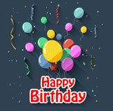 Birthday background with flying balloons/flat design Royalty Free Stock Images