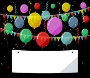 Birthday background with flying balloons/flat designBirthday background with blank sign Stock Photos