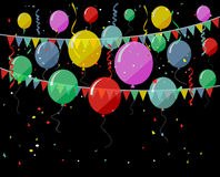 Birthday background with flying balloons Royalty Free Stock Photos