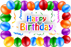 Birthday background with flying balloons Stock Images