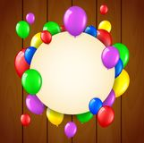 Birthday background with flying balloons and place for text on wooden background Royalty Free Stock Images