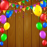 Birthday background with flying balloons on wooden background. Illustration of Birthday background with flying balloons on wooden background Stock Photography