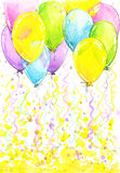 Birthday background with flying colorful balloons and confetti stock illustration